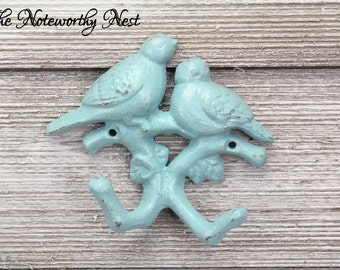 ANY COLOR Double bird hook / blue hook / Cast Iron Wall Hook / Cast Iron Bird Hook / Cottage Decor / nursery decor / girls room // boys room