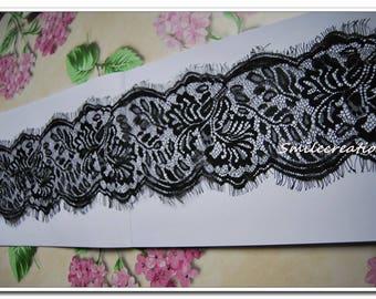 3 m * 12 cm dentlle CHANTILLY Black Lace fringe REF 1023