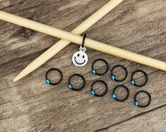 O Ring Stitch Markers, Black & Blue Stitch Marker, Round Stitch Markers, Dangle Free Markers, Gifts for Knitter, Knitting Tool, Snag Free