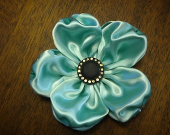 Aqua Satin Ribbon Flower Applique Millinery