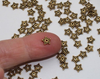 5mm Gold Star Spacers, 20+ TierraCast Antiqued & Plated Heishi Beads, Lead Free Pewter Beaded Stars