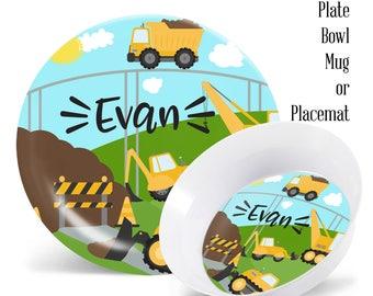 Personalized Kids Plates Construction Boys Personalized Melamine Plate Set Kids Melamine Dinner Set Plate Bowl  sc 1 st  Etsy & Kidu0027s plates | Etsy