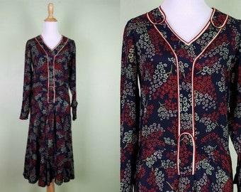 1930s Floral Dress - Late 20s Early 1930s Vintage Dress - Drop waist Long Sleeve Dress -