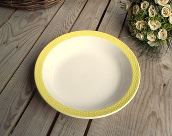 Vintage Round Dish - French Serving Bowl - Vegetable Bowl - Yellow Embossed Border - White Yellow Ceramic - Made in France - Digoin