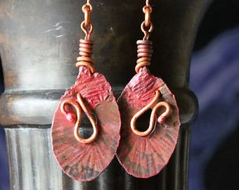 Rustic Copper Earrings, Antiqued Copper Earrings Hammered Rustic Tribal Earrings Ethnic Natural Organic Patina Copper Jewelry Handmade Gifts