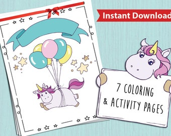Unicorns Activity coloring pages Booklet for Kids  - Children's Activity Sheets- Printable 8.5x11 PDF File - Instant download