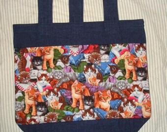 New Handmade Whimsical Cats Kittens Kitties Quilts Walker Tote Bag