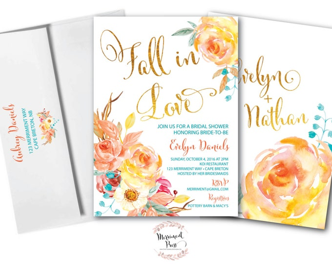 Fall in Love Invitation // Bridal Shower // Roses // Floral // Blue // Orange // Gold Foil // Yellow // Watercolor // CAPE BRETON COLLECTION