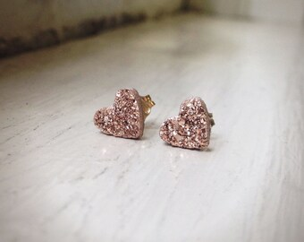 Tiny Heart Shape - Rose Gold Druzy studs -Druzy earrings -  ROSE GOLD Stud Earrings - Pink Druzy Earrings - Heart Druzy