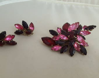 Vintage Red & Pink Rhinestone Broach Pin and Earrings