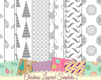Layered Paper Template, PSD Template, Pattern Template, Instant Download, Commercial Use, CU Template,  Digital Download, Christmas 2