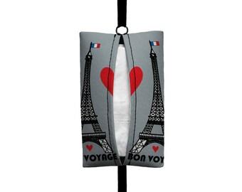 Auto Sneeze - Eiffel Tower (Grey) Visor Tissue Case/Cozy - Car Accessory Automobile - Black Grey Paris France Bon Voyage