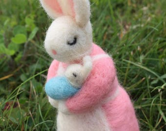 Mom and baby boy felted bunny art doll figurine baby shower gift