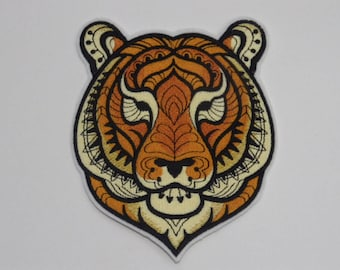 Animal  Iron-on Patch. Embroidered Patch. Sew-On Patch. Majestic Tiger Patch