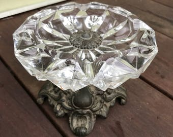 Vintage crystal pedestal ashtray/trinket dish Hollywood Regency