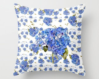 Indoor pillow cover with pillow insert, Indoor Throw Pillow Cover, Cape Cod Hydrangeas & Gold Birds