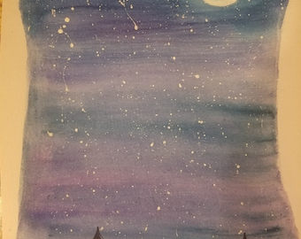 Night sky water color