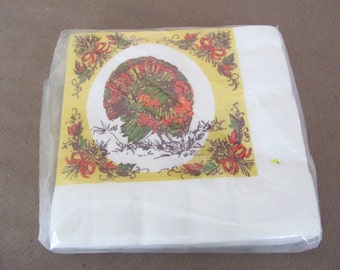 Vintage Thanksgiving napkins, 1960's Reed's Paper Napkins, Turkey Napkins, Thanksgiving, Mid Century Decor