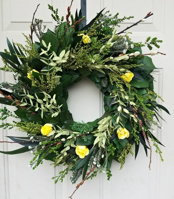 20 inch preserved eucalyptus wreath, yellow rose wreath, rose wreath, eucalyptus wreath, leaf wreath, preserved wreath, dried wreath