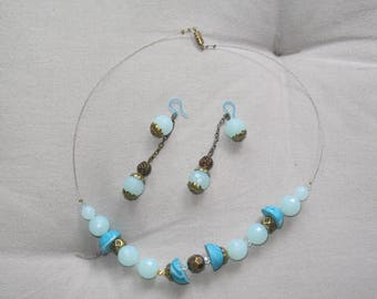 Set of turquoise / blue / gold / white polymer clay