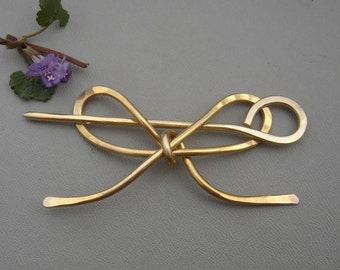 Brass Bow Shawl Pin, Sweater Clip, Closure, Brooch, Bowtie, Hair Pin, Scarf Pin, Shrug Fastener, Hair Accessories, Barrette, Hair Slide