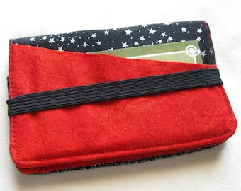 Business Card Holder Mini Wallet- Bifold Inside Outside Wallet in Black and Red Fabric Stars