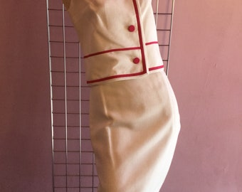 Pink and White 60s Suit Skirt Set