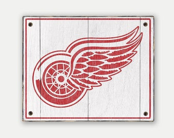 Detroit Redwings sign - Print applied to wood - Redwings fan gift - Man cave Boys room Sports Bar decor Fathers Day gift for Dad