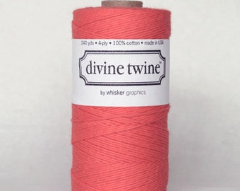 10 yards/ 9.144 m Solid Coral Twine, Bakers Divine Twine