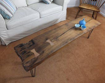 Oak Coffee Table Created From Reclaimed Wood