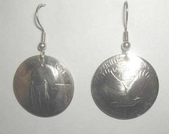 Antique Silver Standing Liberty quarter earrings- nicely domed