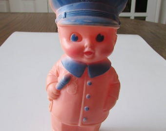 Vintage Sun Rubber Policeman Toy 1960 Squeeze Toy