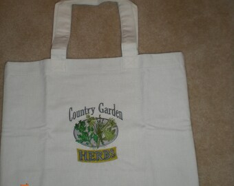Handmade Embroidered Vintage Tote Bag, Country Garden Herbs