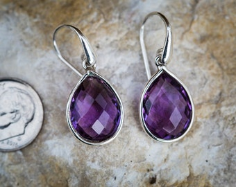 Amethyst Checkerboard Cut Drop Earrings - February birthstone earrings - Amethyst dangle earrings - Amethyst earrings - Sterling Silver