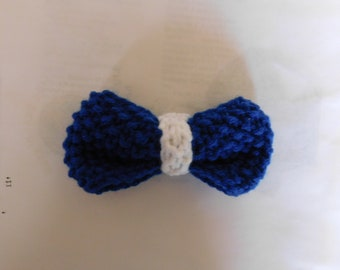 Blue and White, Bow Tie, Clip-On, Hand-Knitted