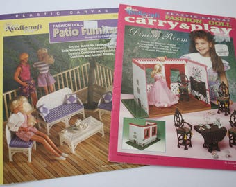 """Doll Furniture Plastic Canvas Patterns, 11.5"""", Barbie /Carry Play Dining Room, Patio Furnishings, Needlecraft Shop 943746, 923718"""