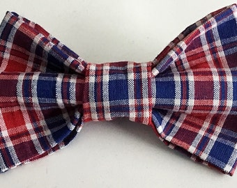Red, White & Blue Plaid Bow Tie for Male Cat and Dog Collar