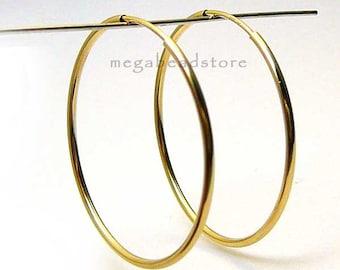 2 pcs 40mm Gold Filled Endless Hoop Earring Earwire F336GF