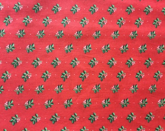 Vintage fabric, cotton Christmas Holly.