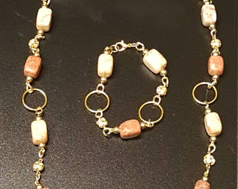 Neutral  and Tan Color Jewelry Set