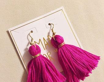 Magenta Tassel Earrings