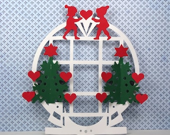 3D Vintage paper Christmas decor 1980s Denmark white red green