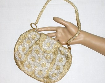 "Vintage 1950s 60s  WALBORG Gold & Silver Art Deco Pattern Beaded Purse EVENING BAG Japan / 8"" x 6"""