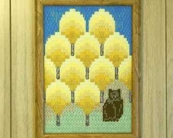 "Framed Bargello Art ""Bear-ly There"""