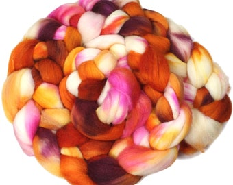 Easter Cactus - hand-dyed merino wool and silk (4 oz.) painted combed top