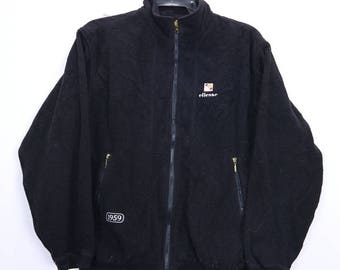Vintage Ellesse Perugia Italia Sweater Embroidered Big Logo Jaclet Black colour