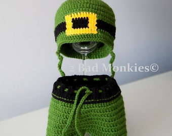 St Patrick's Day Baby - Baby Leprechaun Hat and Shorts Set - Baby St Patricks day baby outfit - newborn Halloween costume