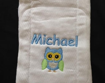 Personalized owl Bib or Burp Cloth (You Pick)
