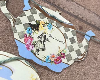 alice in wonderland mad hatter tea party bunting handmade 2.5m