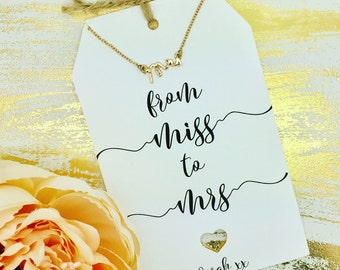 Mrs Necklace for Bride To Be - Bride Gift With Personalised Card, Bridal Shower Gift, Bridal Jewellery, Wedding Jewellery